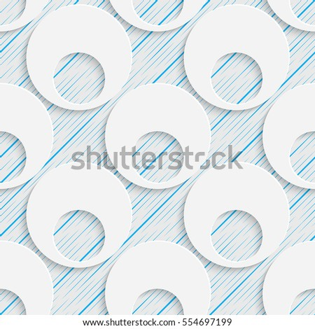 Seamless Elegant Disco Pattern. Abstract Three-dimensional Background. Modern Textile Wallpaper. White and Blue Art Design