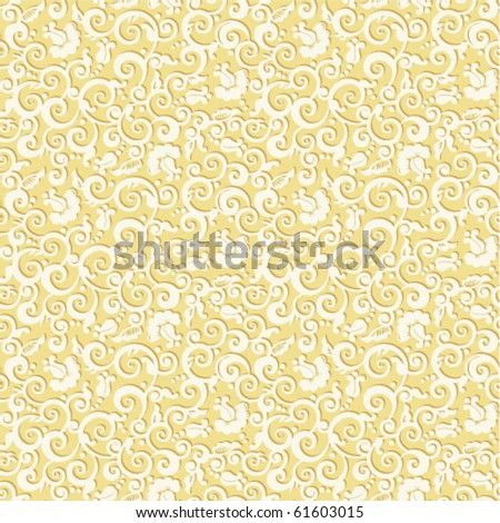 Seamless elegant floral pattern vector vintage background with embossed effect - stock vector