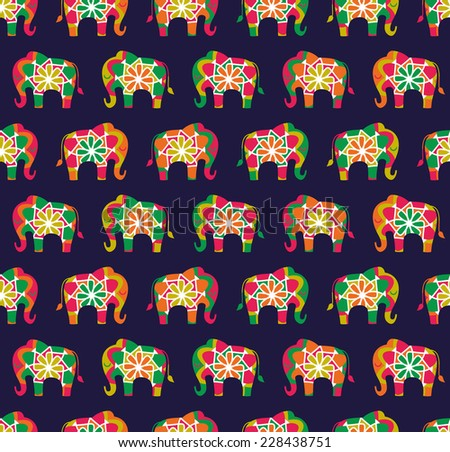 Seamless elephant pattern in bright asian colour palette - stock vector
