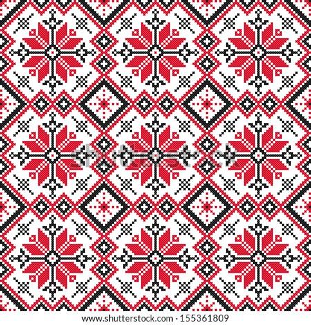 seamless embroidered good like handmade cross-stitch ethnic Ukraine pattern - stock vector