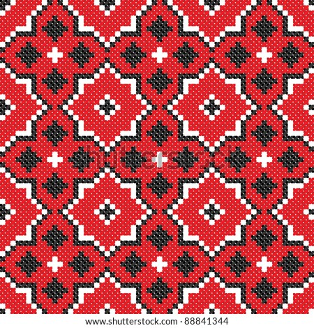 seamless embroidered good like handmade cross-stitch ethnic Ukraine pattern - stock vector