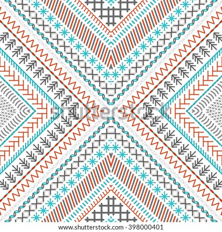 Seamless embroidery pattern. Vector high detailed stitches. Ethnic boundless texture. Red, blue, grey and white. Can be used for web page backgrounds, wallpapers, wrapping papers and invitations. - stock vector