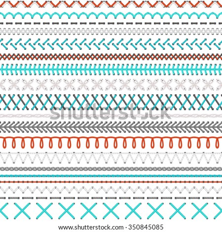 Seamless embroidery pattern. Vector high detailed white, red and blue stitches on white background. Boundless texture. - stock vector