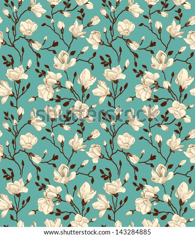 Seamless emerald pattern with a blossoming magnolia - stock vector