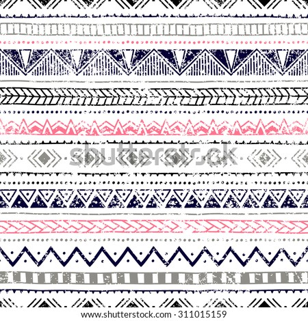 Seamless ethnic background. Geometric lines on a white background. Texture. Blue, gray, pink, black elements. Doodle. - stock vector