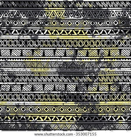 Seamless ethnic background in grunge style. Black and yellow watercolor stains. Handmade. Vector. - stock vector
