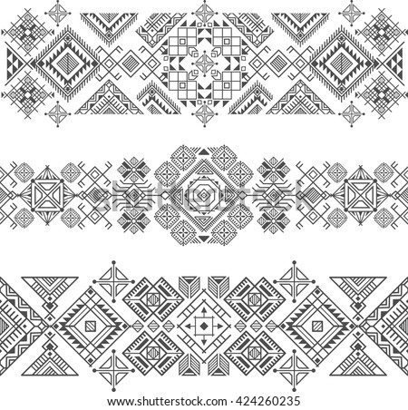 seamless ethnic borders with native american motifs, vector - stock vector