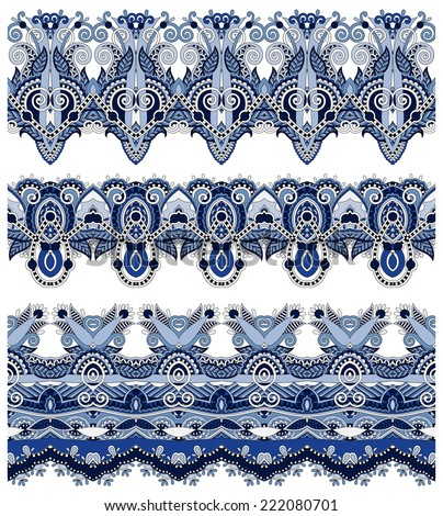 seamless ethnic floral paisley stripe pattern, border set, ukrainian tribal ornament for print or embroidery ribbon, or for the design of polygraphy or web, vector illustration - stock vector