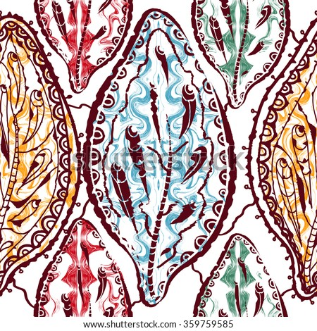 Seamless ethnic floral pattern with leaves on a white background.