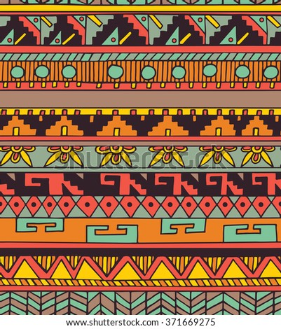 Seamless ethnic geometric doodle colorful pattern in vector. Aztec tribal design