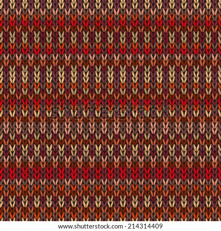 Seamless Ethnic Geometric Knitted Pattern. Style Red Pink Orange Yellow Background