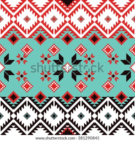 Seamless ethnic geometric pattern. Folklore rug pattern.