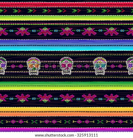 Seamless ethnic mexican fabric pattern with colorful stripes and Catrina`s skull. Repeat straight stripes texture background, vector. Day of the Dead holiday. - stock vector