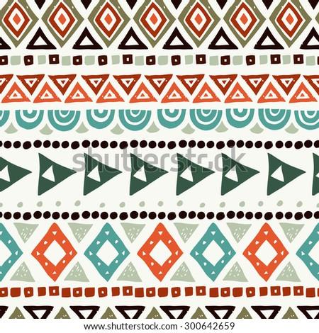 Seamless ethnic pattern, retro colors - stock vector