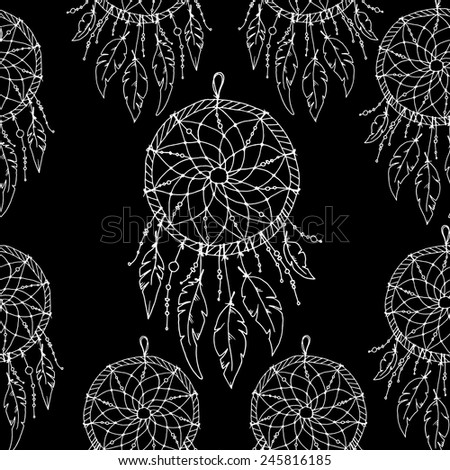 Seamless ethnic pattern with feathers. Abstract pattern of feathers, can be used to print on fabric, paper, wallpaper and so on. - stock vector
