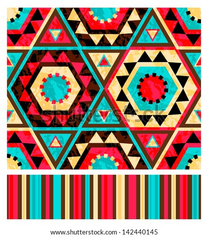 Seamless ethnic pattern with striped companion. Vector illustration - stock vector