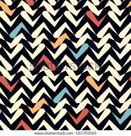 Seamless ethnic zigzag pattern background - stock vector