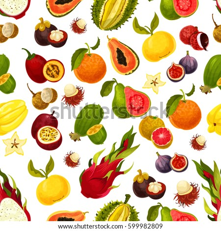Seamless exotic fruits pattern. Vector carambola star fruit and passionfruit, mango or papaya and orange grapefruit, guava or avocado figs and rambutan, dragon fruit, feijoa, durian and mangosteen
