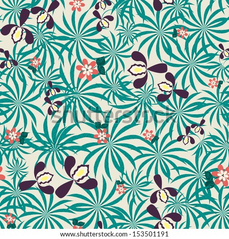 Seamless exotic pattern with orchids flowers and leaves - stock vector