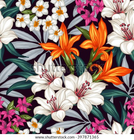 Seamless exotic pattern with tropical leaves and flowers. Blooming jungle. Vector illustration. - stock vector