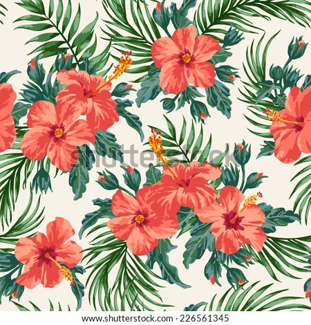 Seamless exotic pattern with tropical leaves and flowers on a white background. Hibiscus, palm. Vector illustration. - stock vector