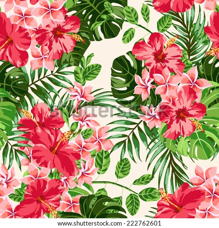 Seamless exotic pattern with tropical leaves and flowers on a  white background.  Plumeria, hibiscus, monstera, palm. Vector illustration. - stock vector