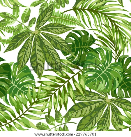 Seamless exotic pattern with tropical leaves on a white background. Vector illustration.  - stock vector