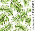 Seamless exotic pattern with tropical leaves  on a white background. Vector illustration.  Vector illustration. - stock vector