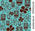 Seamless Exotic Tiki Paradise Pattern - stock vector