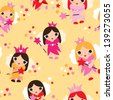 Seamless fairy princess kids illustration decorative background pattern in vector - stock photo