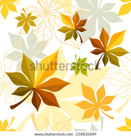 Seamless fall background with maple leaves - stock vector