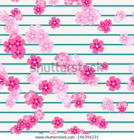 Seamless falling cherry blossoms - stock vector