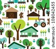 Seamless farm animals country background pattern in vector - stock vector
