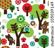 Seamless farm owl tree animal pattern background in vector - stock vector