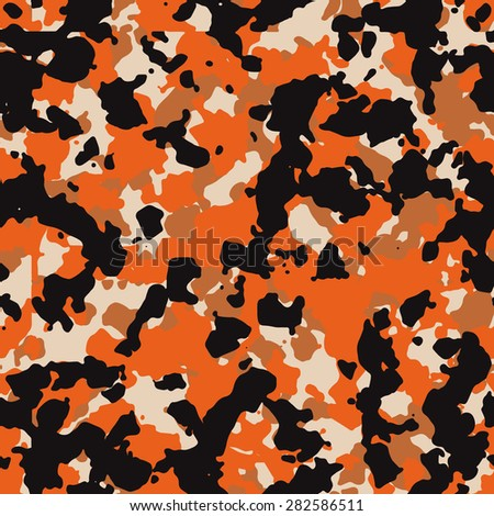 Seamless fashion black and orange camouflage pattern vector - stock vector