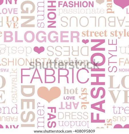 Seamless fashion blogger typography style background pattern pink in vector - stock vector
