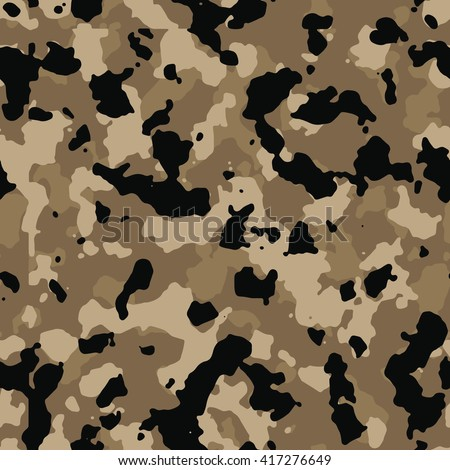 Seamless Fashion Desert Brown And Black Camo Pattern Vector