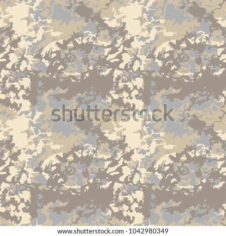 Seamless Fashion Light Beige Sand And Gray Urban Or Desert Camouflage Camo Pattern