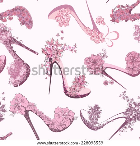 Seamless fashion pattern with women shoes, high heels, flowers and butterfly - stock vector
