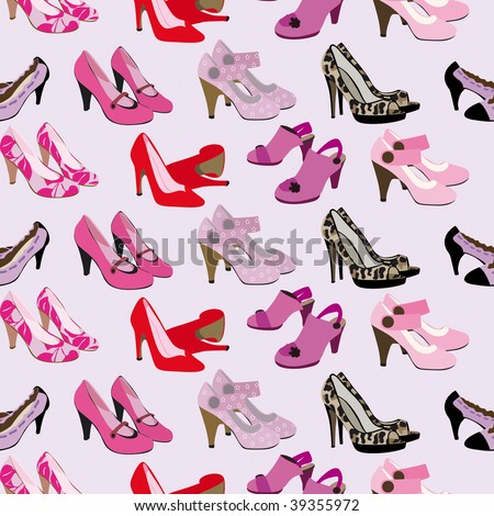 Seamless fashion shoes and heals pattern in vector - stock vector