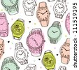 Seamless fashion watch vintage background pattern in vector - stock photo
