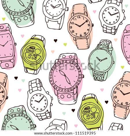 Seamless fashion watch vintage background pattern in vector - stock vector