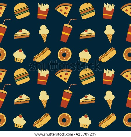 seamless fastfood restaurant theme pattern vector art illustration