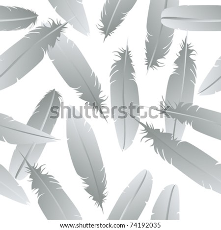 Seamless feathers pattern over white background - stock vector
