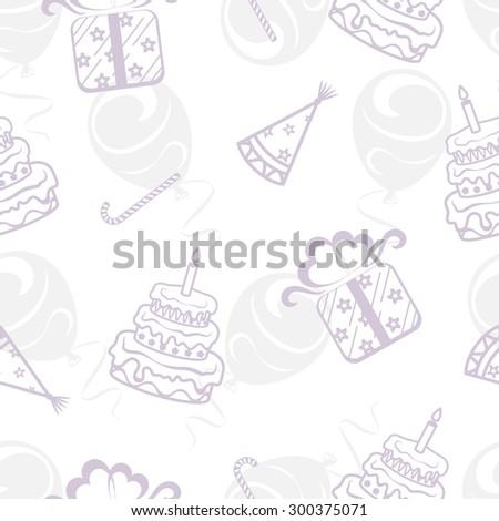 Seamless festive background, theme birthday, vector illustration - stock vector