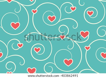 Seamless Festive Love Abstract Pattern with Hearts on Blue Background - stock vector