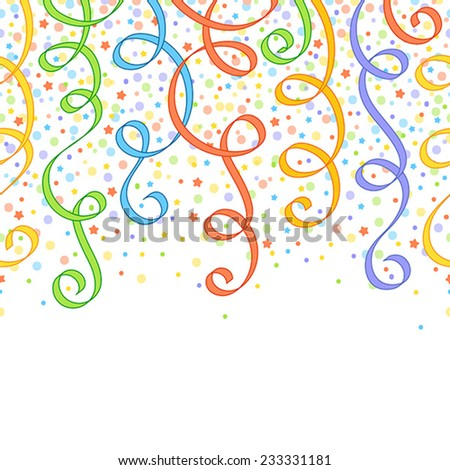 Seamless festive pattern with colourful ribbons, circles and stars - stock vector