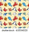 seamless fish pattern - stock vector
