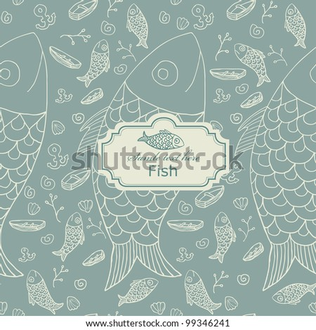 Seamless fish pattern with label - stock vector