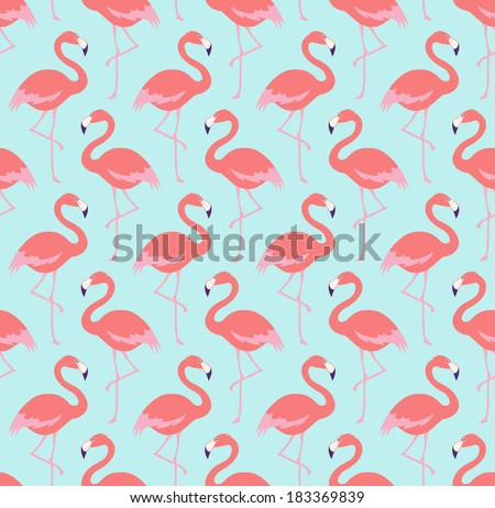 seamless flamingo bird pattern - stock vector
